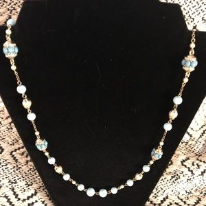 Jewelry - cute gold, turquoise and pearl necklace